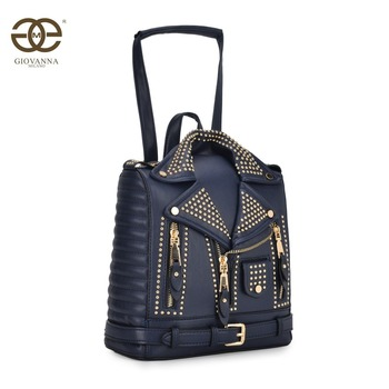 Women jacket backpack school backpack convertible shoulder bag with rivets PU luxury famous brand design spring Giovanna T10691 цена 2017