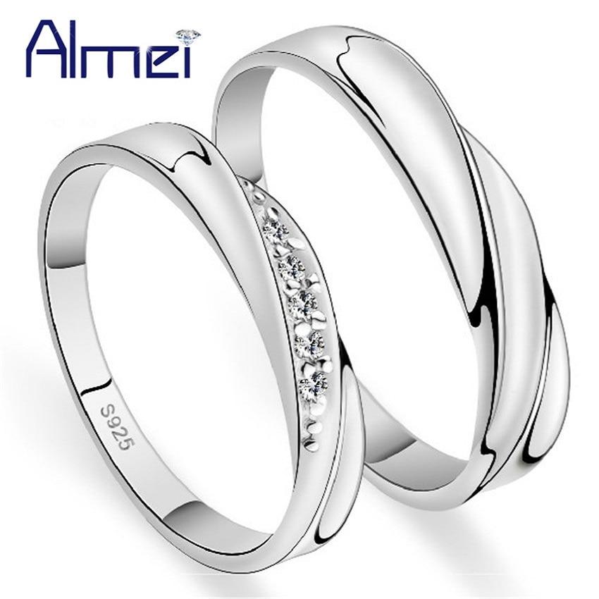 49% sleva Křišťál pár prstenů ženy muži svatební pánské šperky pár dívky prsten sada stříbrná barva Anillos Mujer milence dárky J293