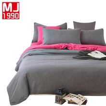 Europe Solid Color Bedding Sets A/B Version Sheet, Pillowcase & Duvet Cover Soft Comfortable King Queen Full Size 3Pcs/