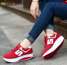 Akexiya Women Breathable Mesh Lace Up Casual Platforms Shoes Height  Increasing Rocking Shoes Sports Wedge Sneakers edf27dbb5caf