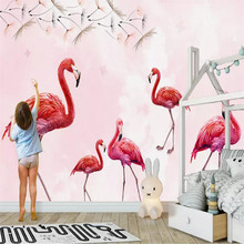 Hand-painted dandelion flamingo background professional production mural factory wholesale wallpaper mural poster photo wall hand painted color oil painting background wall professional production mural factory wholesale wallpaper poster photo wall