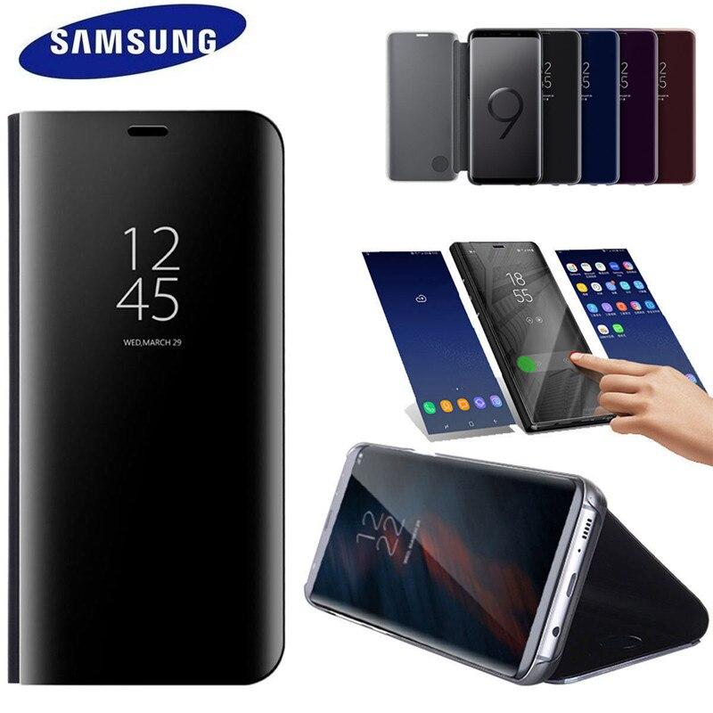 100% Original Oficial Samsung Galaxy s9 S9 S9 Plus + SM-G965 G9650 Visão Clara Tampa Do caso Da Aleta de Pé preto Especial oferta