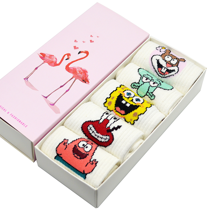 5 paar/satz Weiß Harajuku Kawaii Frauen Socken Niedlichen Cartoon SpongeBob Schwammkopf Frauen Casual Crew Lustige Socken mit Geschenk Box