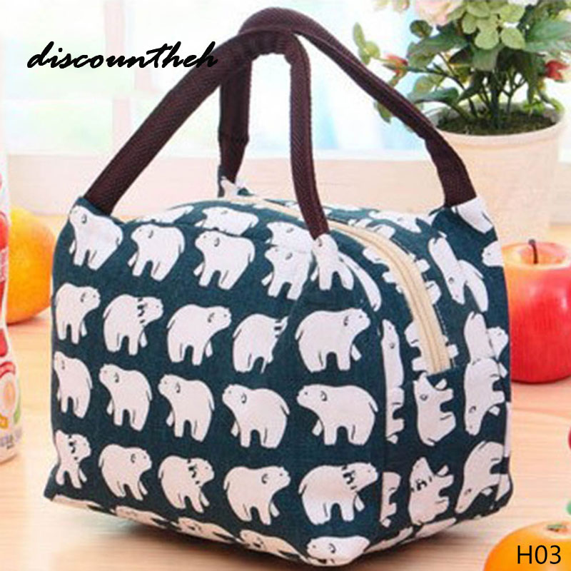 2017 Hot Variety Pattern Lunch Bag Portable Insulated Canvas Lunch Bag Thermal Food Picnic Lunch Bags For Women Kids
