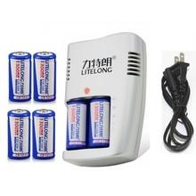 6 pcs LiFePO4 3 v CR123A recarregável de Alta capacidade 1300 mah carregador de bateria bateria de lítio 16340 + pcs CR123a 1