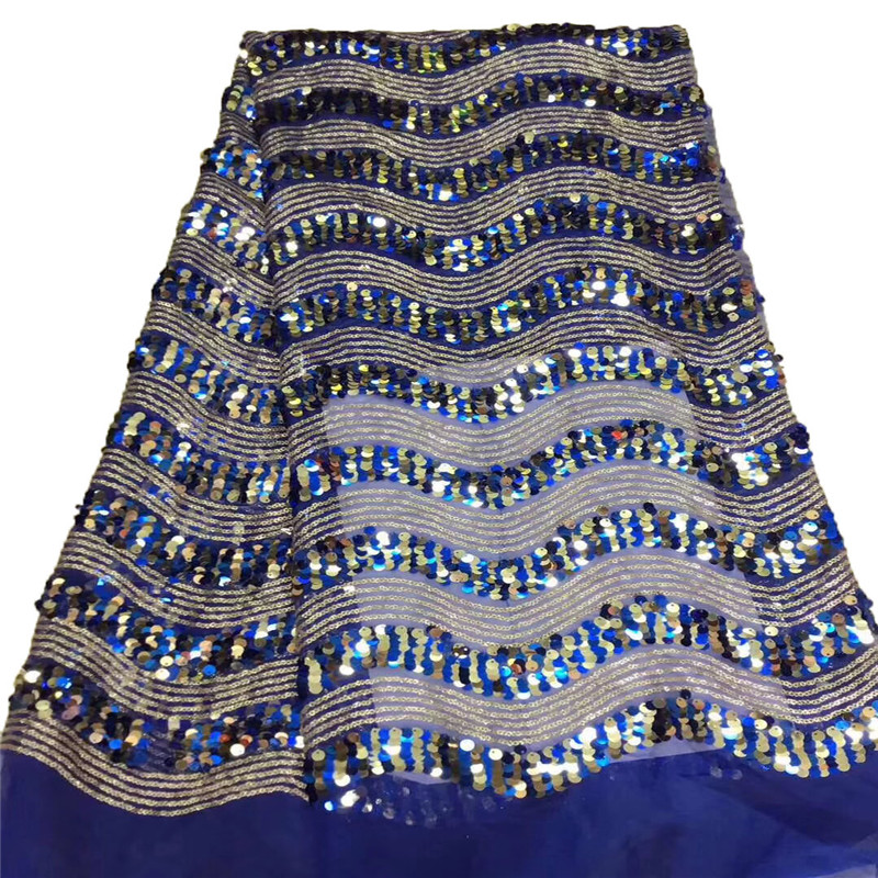Sequined Indian Lace Fabric 2018 Nigeria Net Tulle Guipure Lace African Women Evening Dress Sequins Fabric HJ1084 1