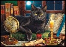 Kits de punto de cruz con cuentas bordadas, costura manualidades 14 ct DMC Color DIY artes decoración hecha a mano gato negro por luz de las velas