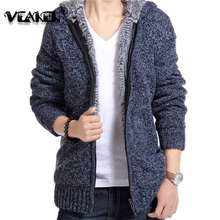 2018 New Mens Sweatercoat Winter Warm Thick Sweater Jacket Male Knitted Hooded Sweatershirt Casual Velvet Fur Sweater coats 2XL