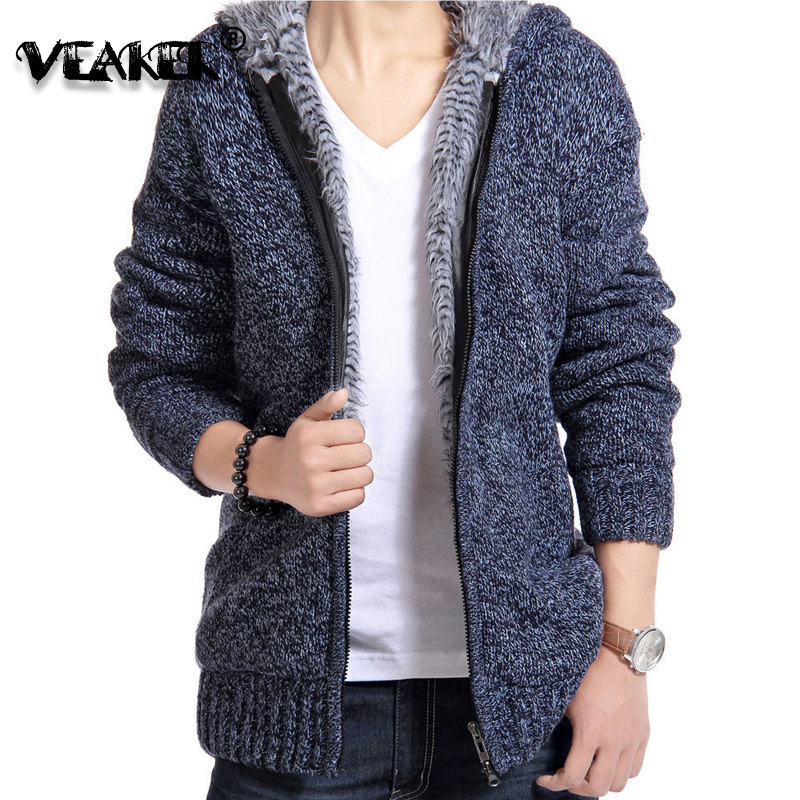 2019 New Mens Sweatercoat Winter Warm Thick Sweater Jacket Male Knitted Hooded Sweatershirt Casual Velvet Fur Sweater coats 2XL