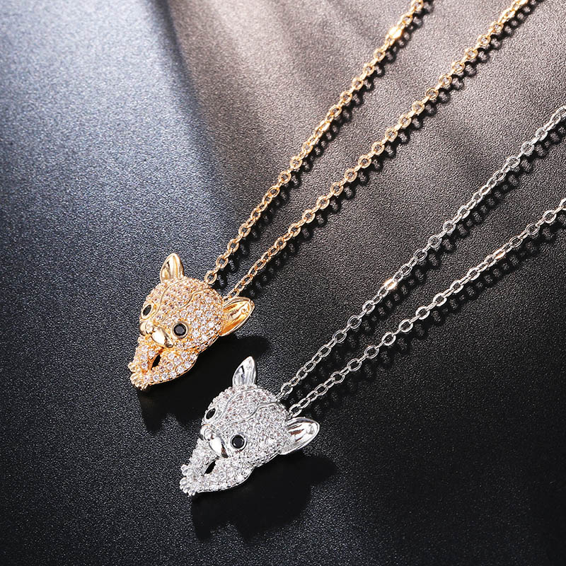CARSINEL Gold color Copper Dog Necklace Chain Fashion Cubic Zirconia Necklaces & Pendants Jewelry For Women