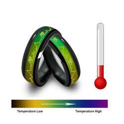 Изменение цвета титановое/нержавеющая сталь настроение кольцо, ЭКГ ж/сердца Дизайн, подарочная коробка в комплекте модные пары титановая