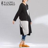 New ZANZEA Round Neck Long Sleeve Splice Clash Color Mid Calf Dress Loose Casual 2018 Female