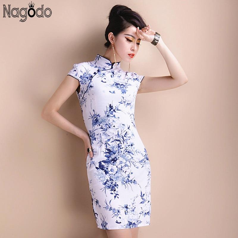 Elegáns Cheongsam Dress nők 5Xl 2016 kínai rövid Retro szexi ruha Mini Qipao mandarin gallér kínai ruhák plusz méret