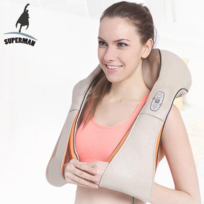 Superman electrical shiatsu massager neck massage device electric back shoulder belt massages roller machine