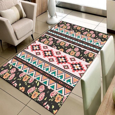 Else Aztech Ethnic Authentic Persian Red Green 3d Print Non Slip Microfiber Living Room Decorative Modern Washable Area Rug Mat