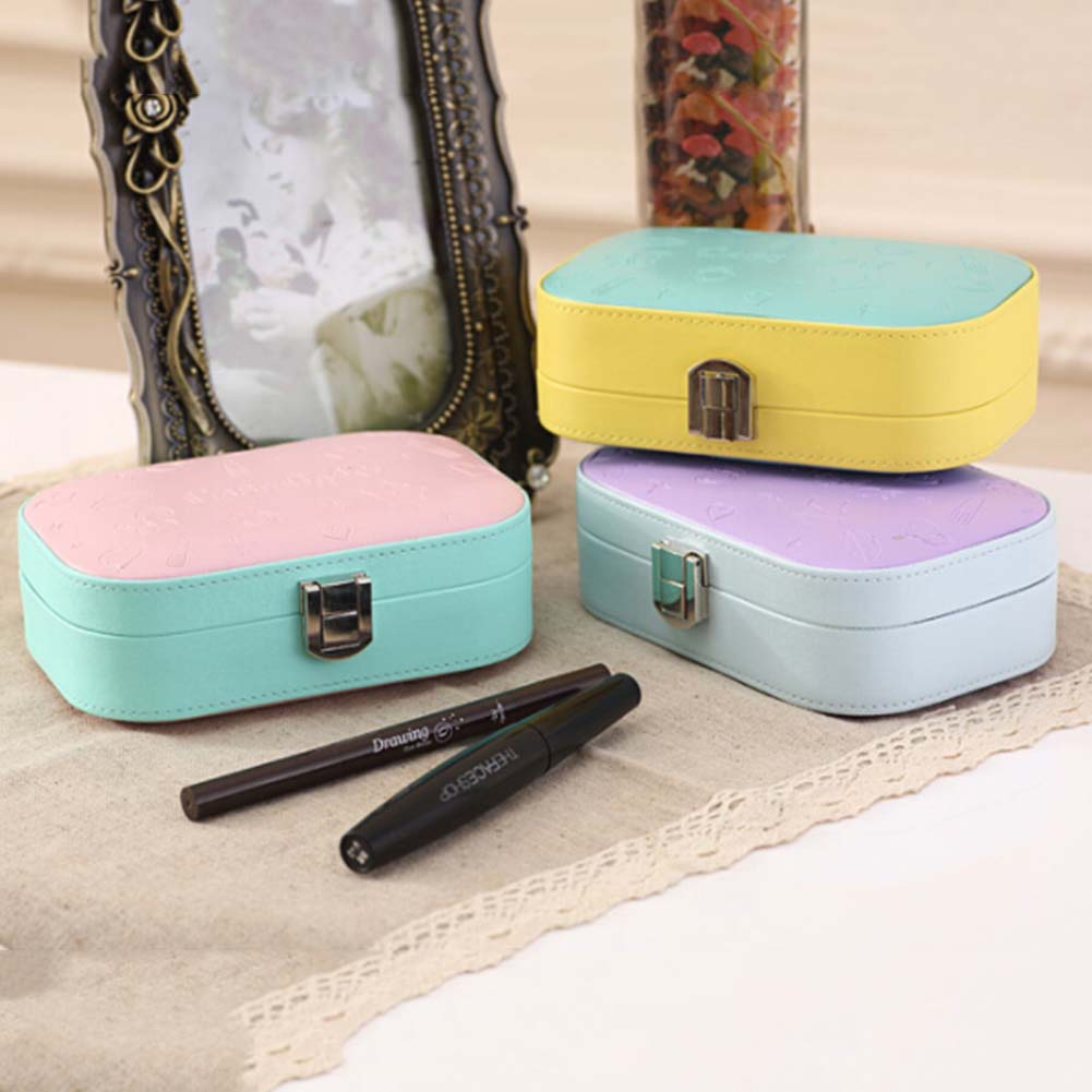 1 pc Assorted Colors PU Leather Portable Jewelry Earrings Rings Necklace Bracelet Hair Clip Storage Box Jewelery Case Organizer