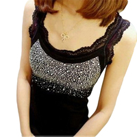 Girl Women's Rhinestone Sequin Lace Tank Top Sling Camisole Cami Slim Shirt Vest