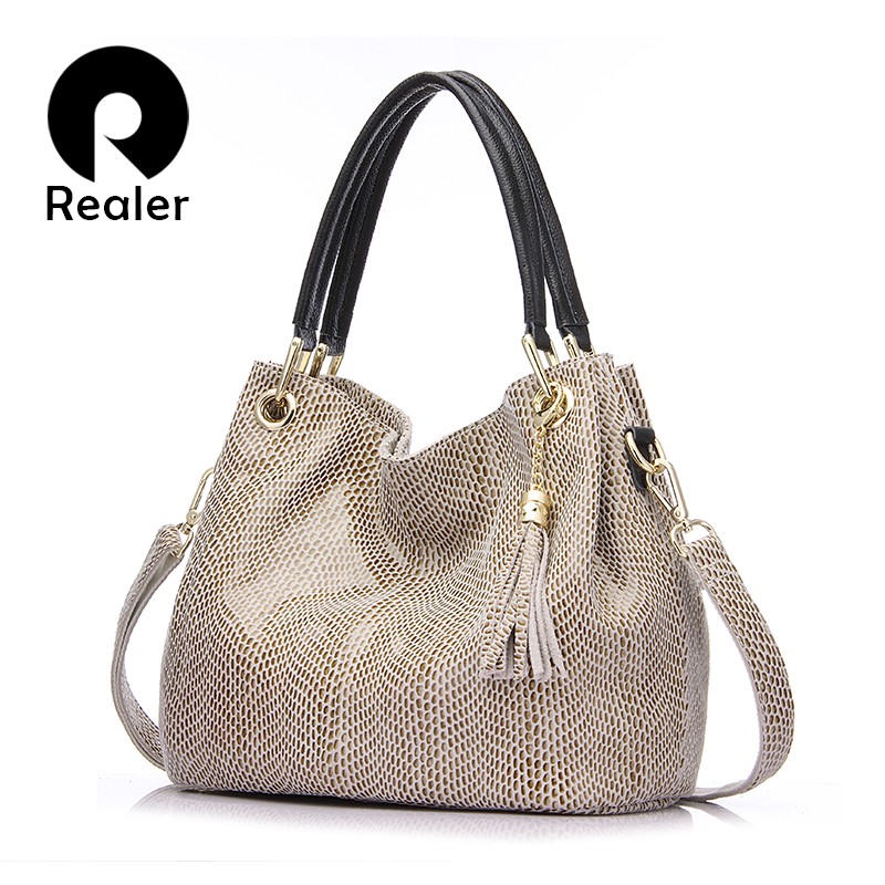 REALER handbag women genuine leather totes female hobos shoulder messenger bags high quality leather crossbody top-handle hobo genuine leather cross body top handle bags embossed natural skin hobo vintage female women messenger shoulder tote handbag