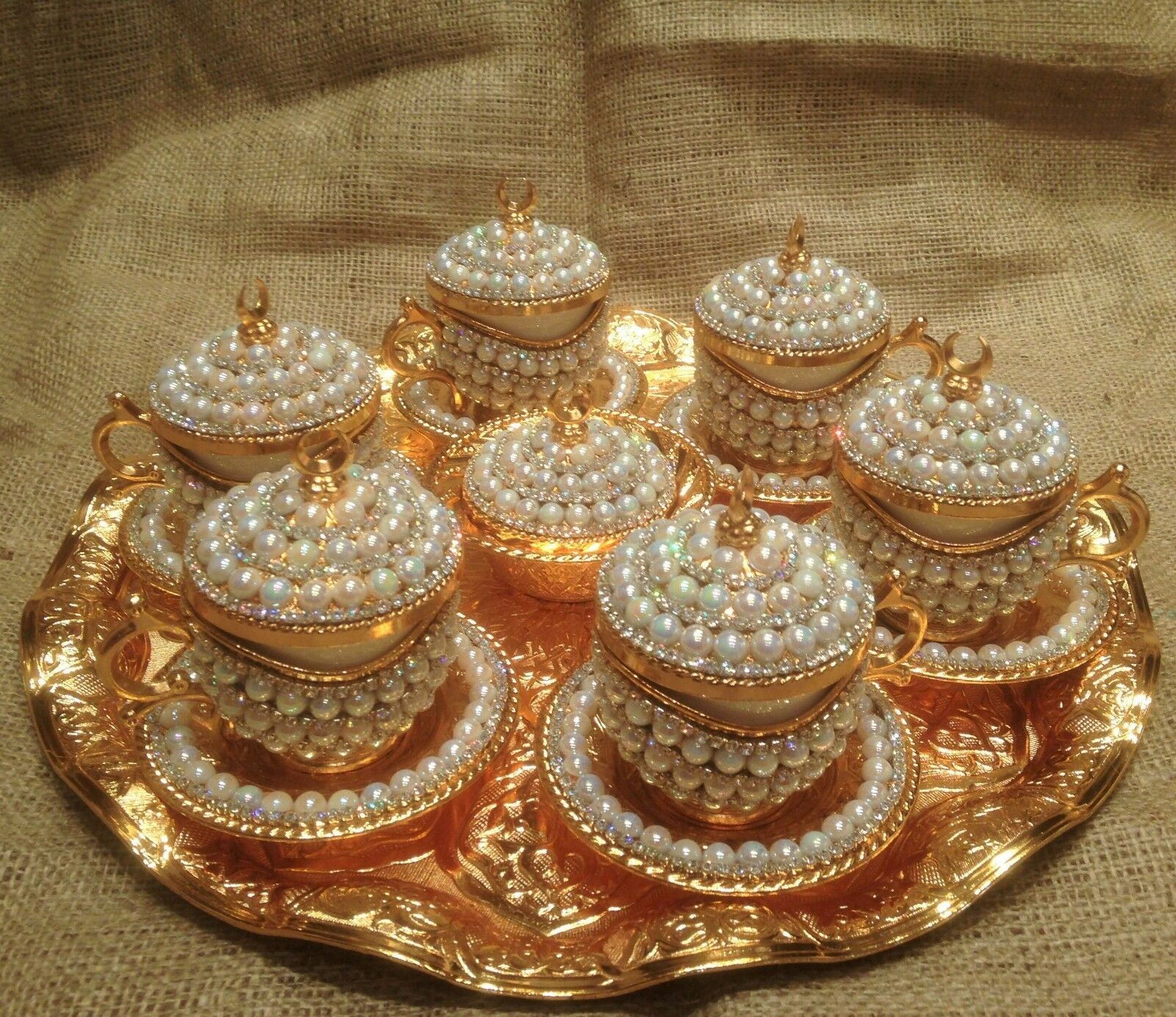 6 person coffee set crystals and beads silver n gold color porcelain style 2