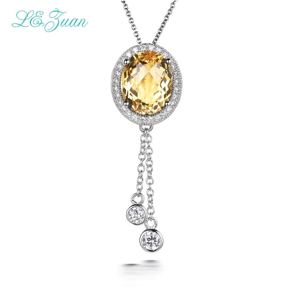 L & zuan femmes colliers pendentifs breloques en argent Sterling 925 7.01ct naturel Citrine collier pour mariage bijoux fins P0066-W05