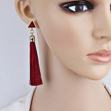 Fashion Bohemian Vintage Earrings Hollow Out Triangle Rhinestone Drop Long Tassel Earrings Jewelry For Women