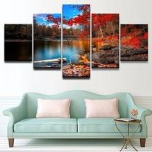 Canvas Painting HD Printed 5 Panel Beautiful Bridge Fall Lake Leaf Nature Rock Tree Water Modern Home Wall Art Decor Poster