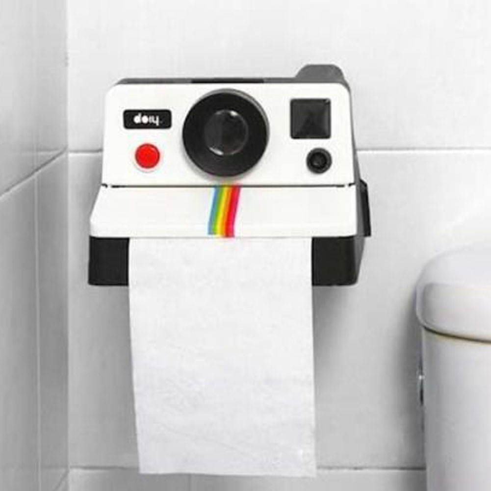 1 Piece Creative Retro Polaroid Camera Shape Inspired Tissue Boxes Toilet Roll Paper Holder Box Bathroom Decor