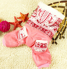 2017 Small Dog Jumpsuit Pet Clothes for Girls Boys Snowflake Print Fleece lined Coat Hooded Jacket with Pants Winter Outfit