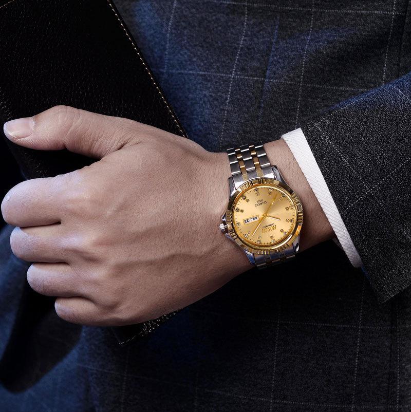 Luxury Brand Gold Steel Men's Quartz Wristwatch Fashion Casual Dress Business Sport Watch Men Clock Relogio Masculino
