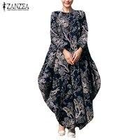 L 5XL 2017 ZANZEA Retro Floral Print O Neck Long Sleeve Robe Kaftan Linen Vestido Women
