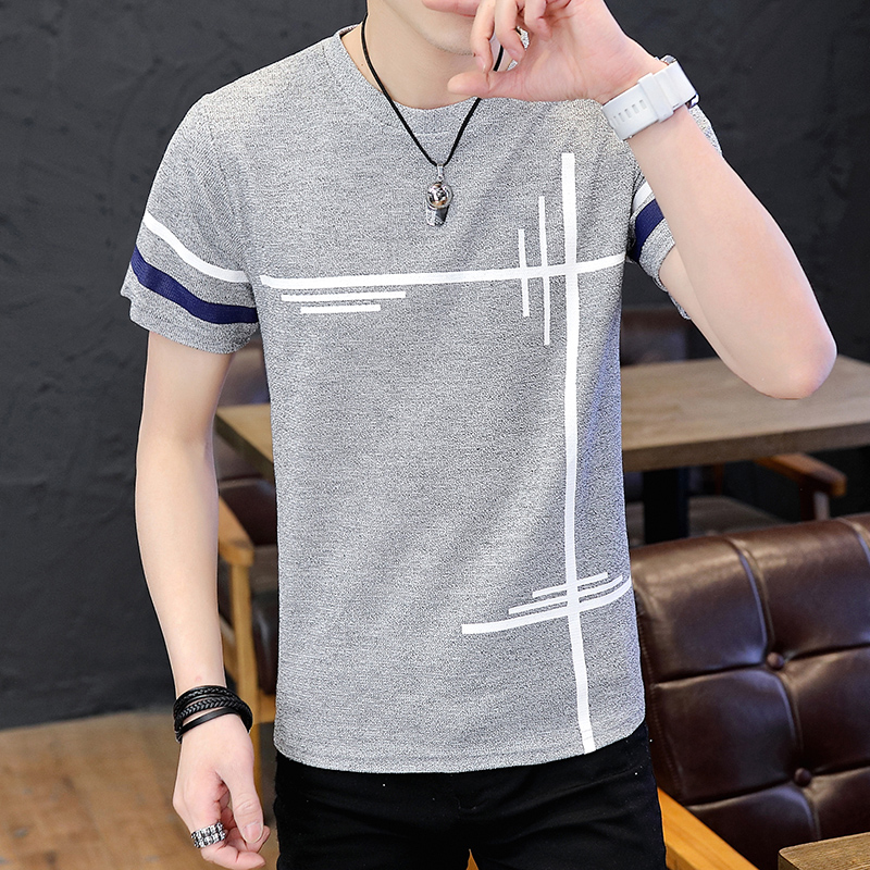 Summer new fashion comfortable popular male leisure t-shirts with short sleeves round collar han edition cultivate one's moralit