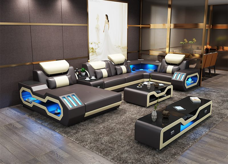 US $1780.0 |Modern living room furniture leather sofa set with LED  lights-in Living Room Sets from Furniture on AliExpress