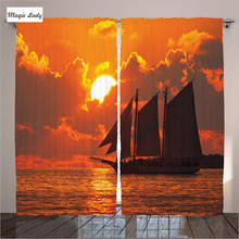 Navy Curtains Living Room Bedroom Decor Nautical Orange Sunset Sail Boat Key West Florida Tropical 2 Panels Set 145*265 sm