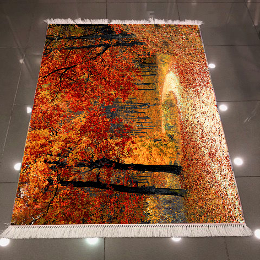 Else Autumn Yellow Brown Trees Forest Leaf 3d Pattern Print Microfiber Anti Slip Back Washable Decorative Kilim Area Rug Carpet