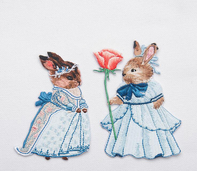 10 par/lote mezclado patrón de conejo de dibujos animados Patch ...