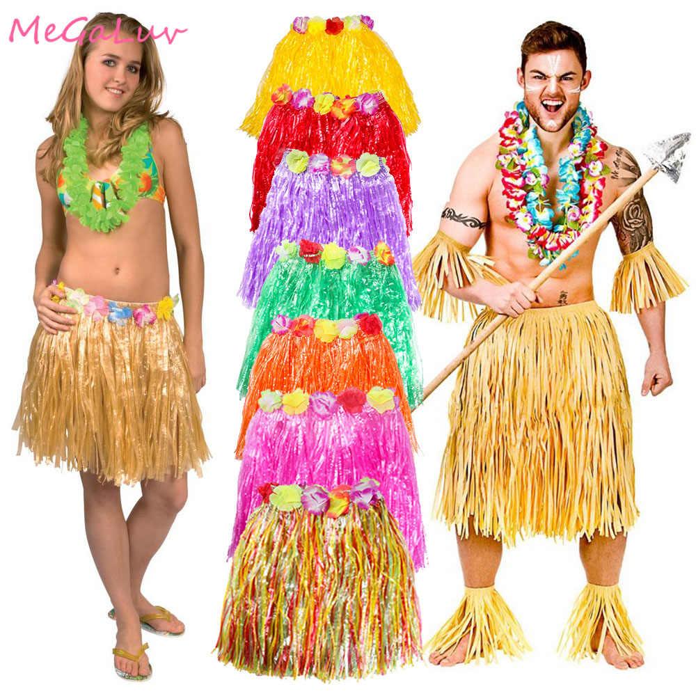 30/40/60/80 Cm Hawaii Hula Cỏ Váy Đi Biển Luau Cho Tiệc Hula Vũ Điệu Cỏ Đầm nhiệt Đới Dự Tiệc Cung Cấp