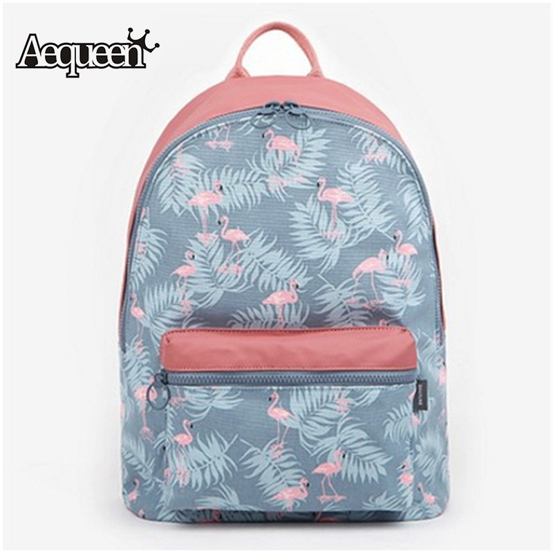 AEQUEEN Cute 3D Flamingo Backpack Women Canvas Cartoon Printing Schoolbag For Teenagers Girls Travel Shoulder Rucksack Mochila pokemon go unisex backpack canvas school bag teenagers cartoon pikachu schoolbag shoulder rucksack travel bags mochila 9 styles
