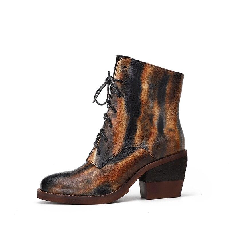 0d0977c3b057ff À Dentelle Cheville Femme Talons Chaussons Femelle Vallu up Bottes En Lady  Chaussures Multi Véritable Martin Cuir ...