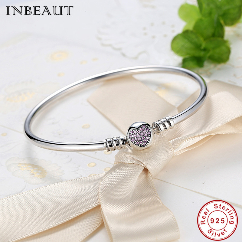 Image 3 - Hot Sale 925 Sterling Silver Purple Heart CZ Zircon Bangle Women 