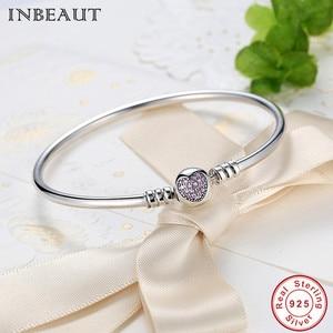 Image 3 - Hot Sale 925 Sterling Silver Purple Heart CZ Zircon Bangle Women Trendy Romantic Love S925 Stamp Charm Bracelet for Wedding Gift