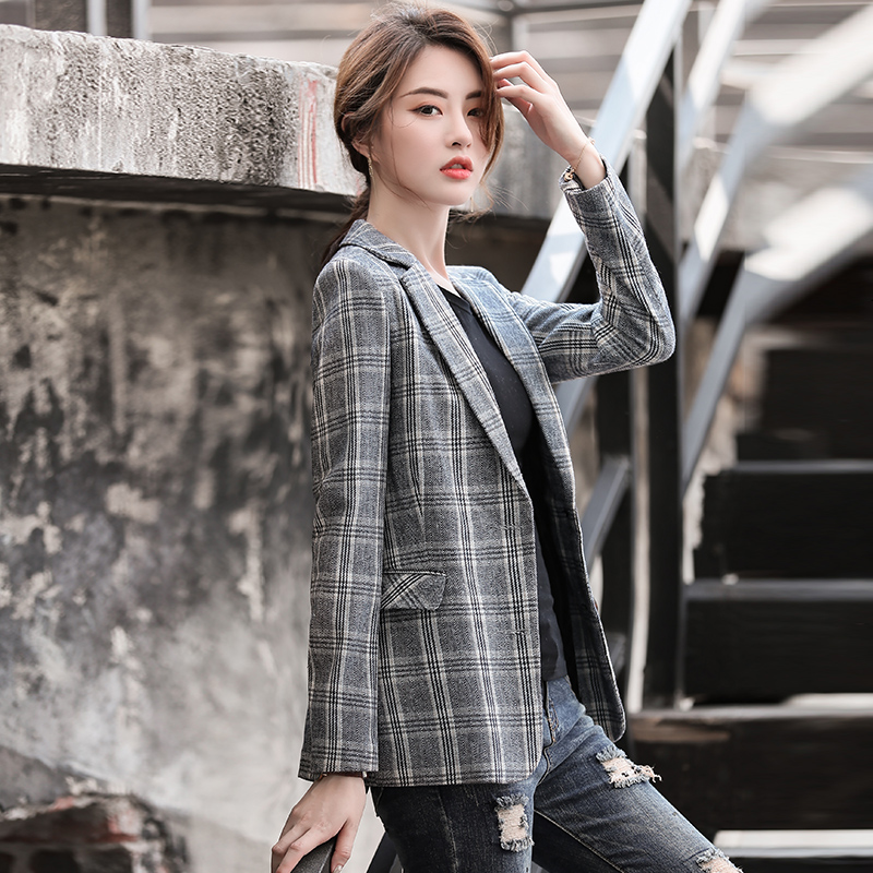 Lenshin Vintage England Style Plaid Coat with Pockets for Women Two Button Long Sleeve Jacket Fashion Outwear Blazer-in Wool & Blends from Women's Clothing    3