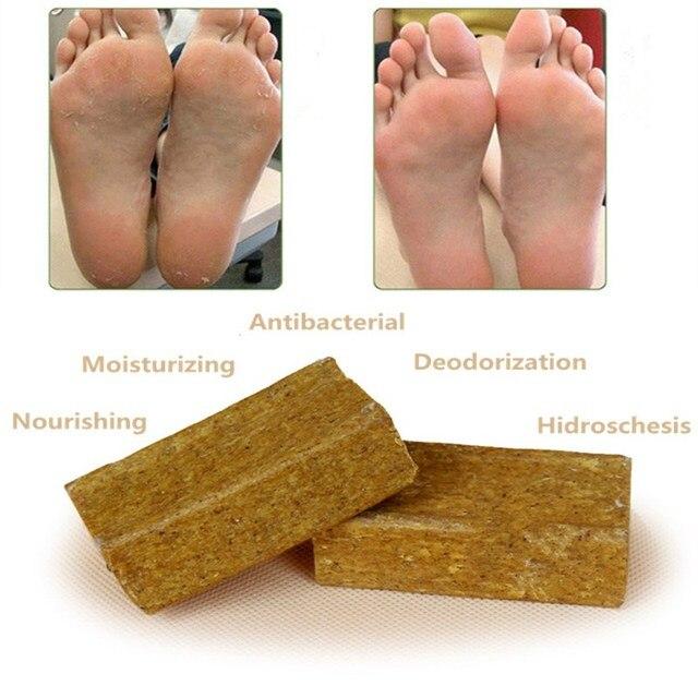 1 unid Pie de baño jabón compro jabón de hierbas naturales pie olor Remover masaje jabón antibacteriano piel seca tratamiento cuerpo Baño DUCHA 50g