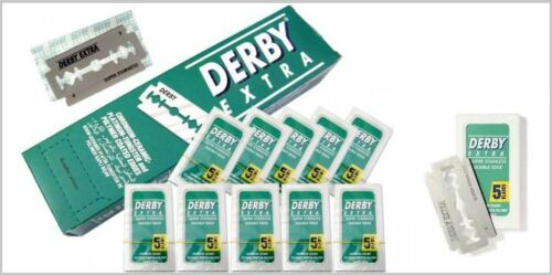Derby Extra Platinum Coated Double Edge Razor Blades 100 Pcs 100 Piece Barber