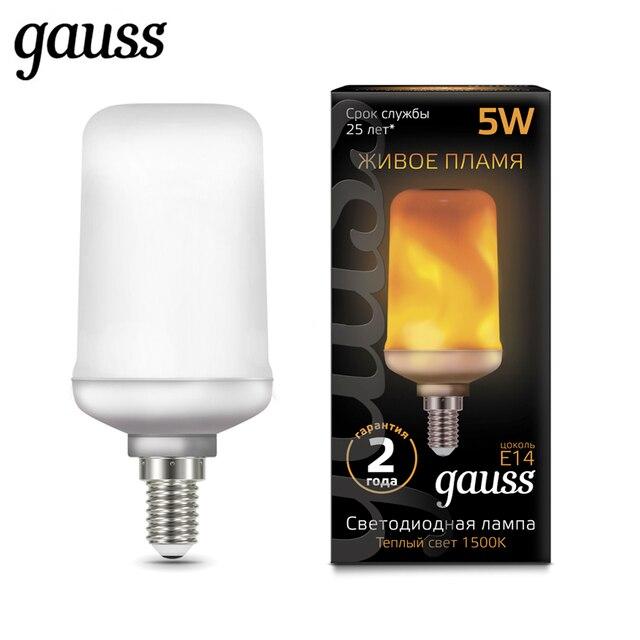 "Лампа светодиодная ""Живое пламя"" Gauss Led T65 Corn Flame 5W E14 E27 1500K 157401105 157402105"