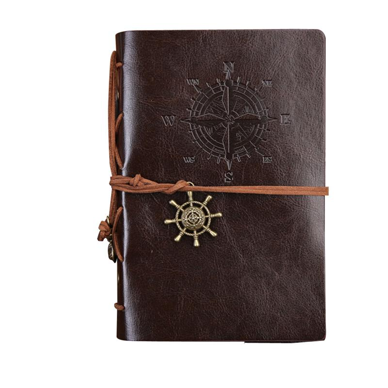 Retro Leather Cover Refillable Blank Line Spiral Notebook Corsair Nautical Journal Planner Diary Loose-leaf Sketchbook Scrapbook