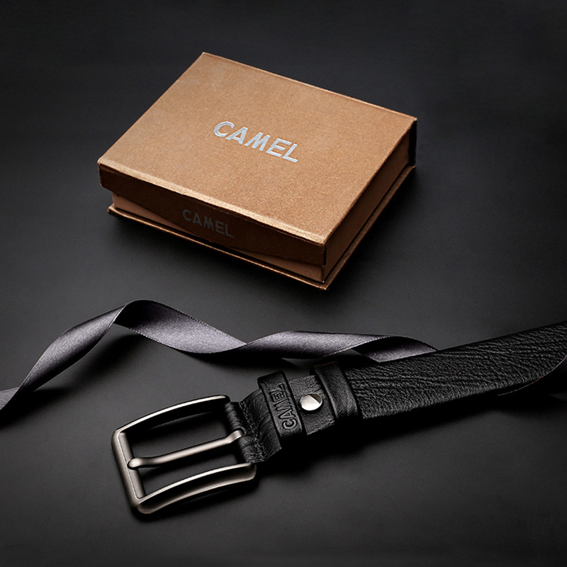 Men's Belt CAMEL Casual-Pin Cowhide Genuine-Leather Business Fashion Wild Top-Layer Cross-Buttonhole-Design