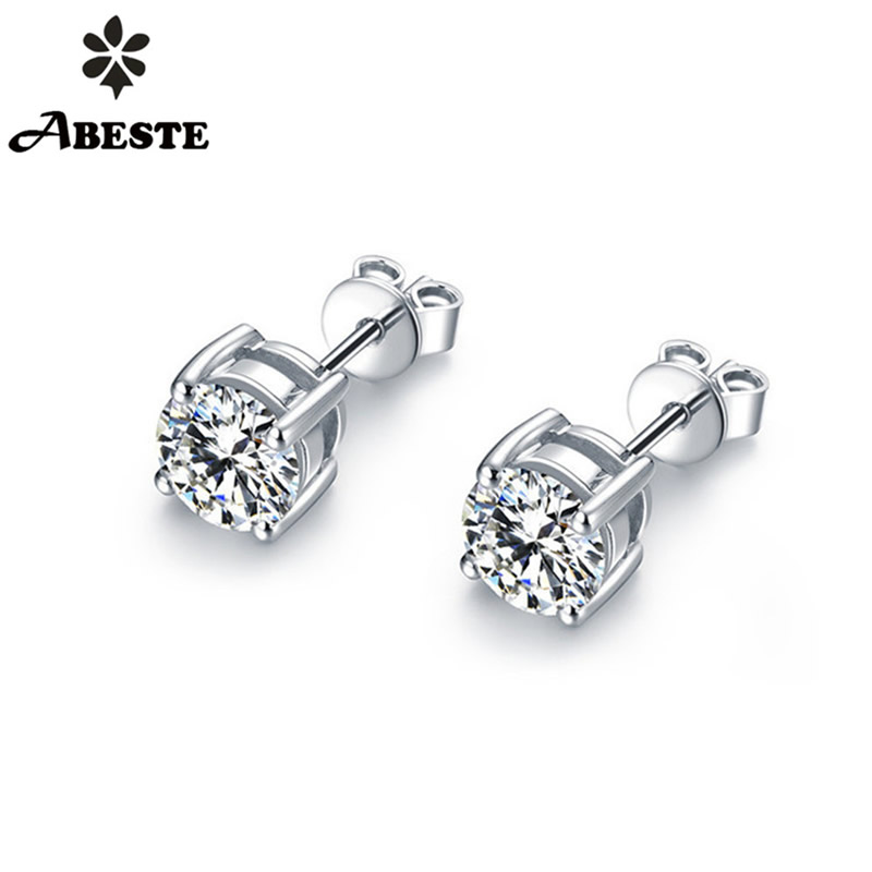 ANI 18K Solid White Gold AU750 Women Engagement Stud Earrings 0 4 CT Certified SI Round
