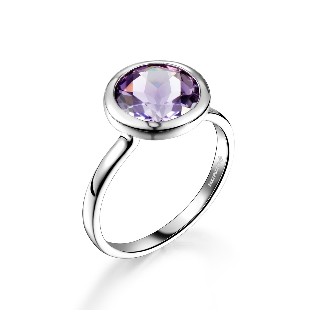 DORMITH real 925 sterling silver ring 3 1 carats 9mmx9mm natural Amethyst gemstone rings for women