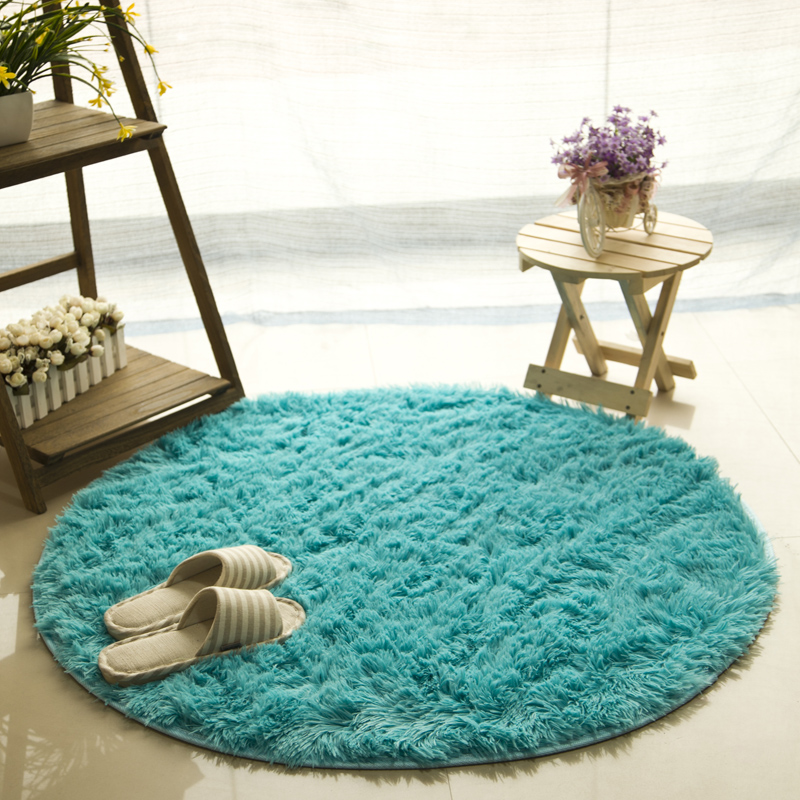Solid Color Fluffy Round Rug Computer Chair Carpet Shaggy Faux Fur Area Rugs Floor Mats for Living Room and Kids Room