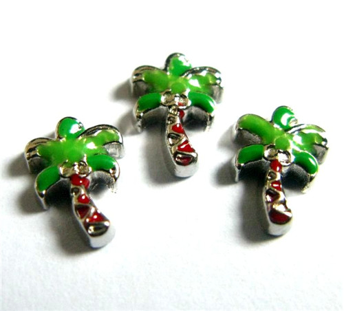 20PCS Cute Green Palm Tree Alloy Floating Charms Fit Glass Locket Charms DIY Jewelry Accessories